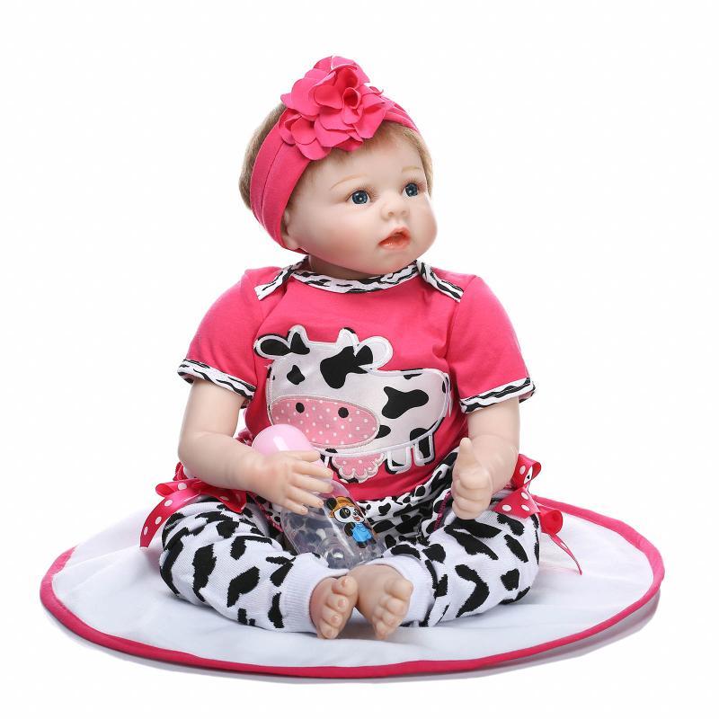 2018 nueva 55 cm Silicona Renacida Boneca Realista Moda Bebé - Muñecas y accesorios - foto 3
