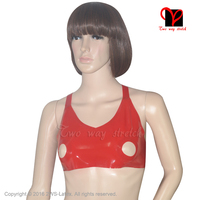Red Sexy Latex Crop Top Open Nipple Hole Rubber Bra Top Lingerie Gummi Bikini Underclothes Fetish