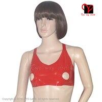 Red Sexy Latex crop top open nipple hole Rubber bra top Lingerie Gummi bikini underclothes halter bustier breast plus NY 013