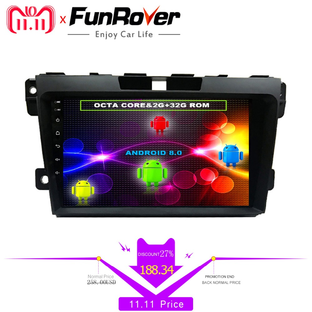 Funrover 8 cores 2 din 9'' Android8.0 Car DVD Player For Mazda CX7 CX 7 CX-7 2008-2015 Car radio multimedia GPS stereo Head unit недорго, оригинальная цена