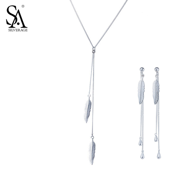 Sa Silverage 925 Sterling Silver Feather Jewelry Sets For Women Necklaces Pendants Drop Dangle Earrings Fine