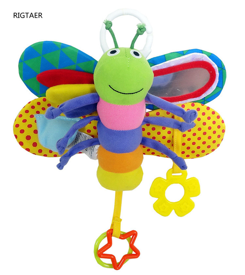 Musical Baby Stroller Toy Butterfly Lathe Hanging Baby Toy With Tooth Sticking Rattan Paper Security Mirror BB Call Baby Rattles