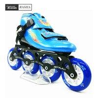 Скорость Роликовые коньки обувь ребенок роликовые коньки загрузки на роликах 84 мм колеса синий цвет патин Patins Infantil de Родас