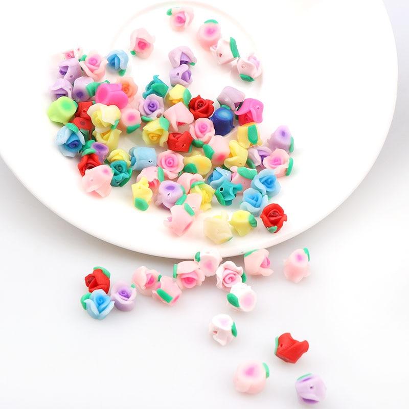 New 8mm 10pcs Mini Kawaii Polymer Clay Fimo Rose Flower Chunky Flatback Beads DIY Hair Headband Decoration Jewelry Findings