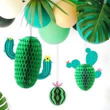 3pcs Cactus Party Decoration Hanging  Honeycomb Balls Summer Desert Tropical Hawaiian Birthday Pool Supplies Decorations