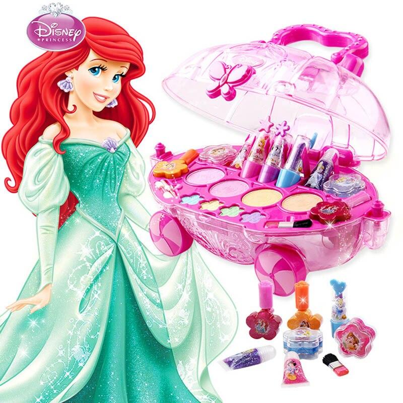 Disney Princesse Maquillage ensemble De Mode De Voiture jouet modélisation Jouets filles soluble dans l'eau Beauté jeux de simulation pour les enfants cadeau d'anniversaire