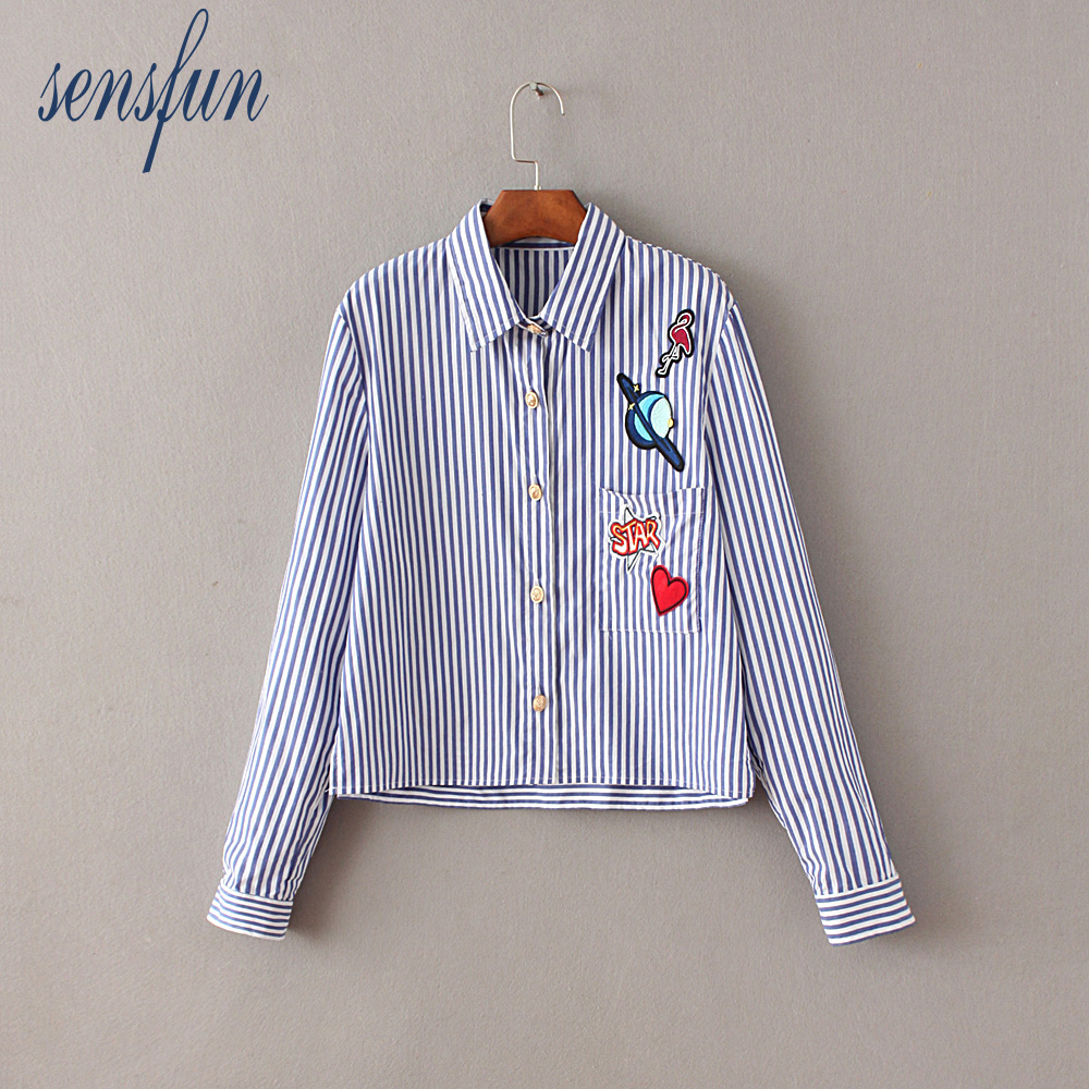 Sensfun Women Blouses Blue Stripe Shirts Women Casual Tops Long Sleeve Loose Ladies Shirt Elegant Blouse Tops Clothing Blusas