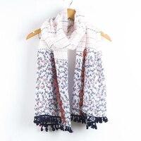 200cmX100cm New Fashion Women Floral Vintage Ladies Bali Yarn Bearding Warp Shawl Fold Female Polyester Scarf Scarves Shawl 150g