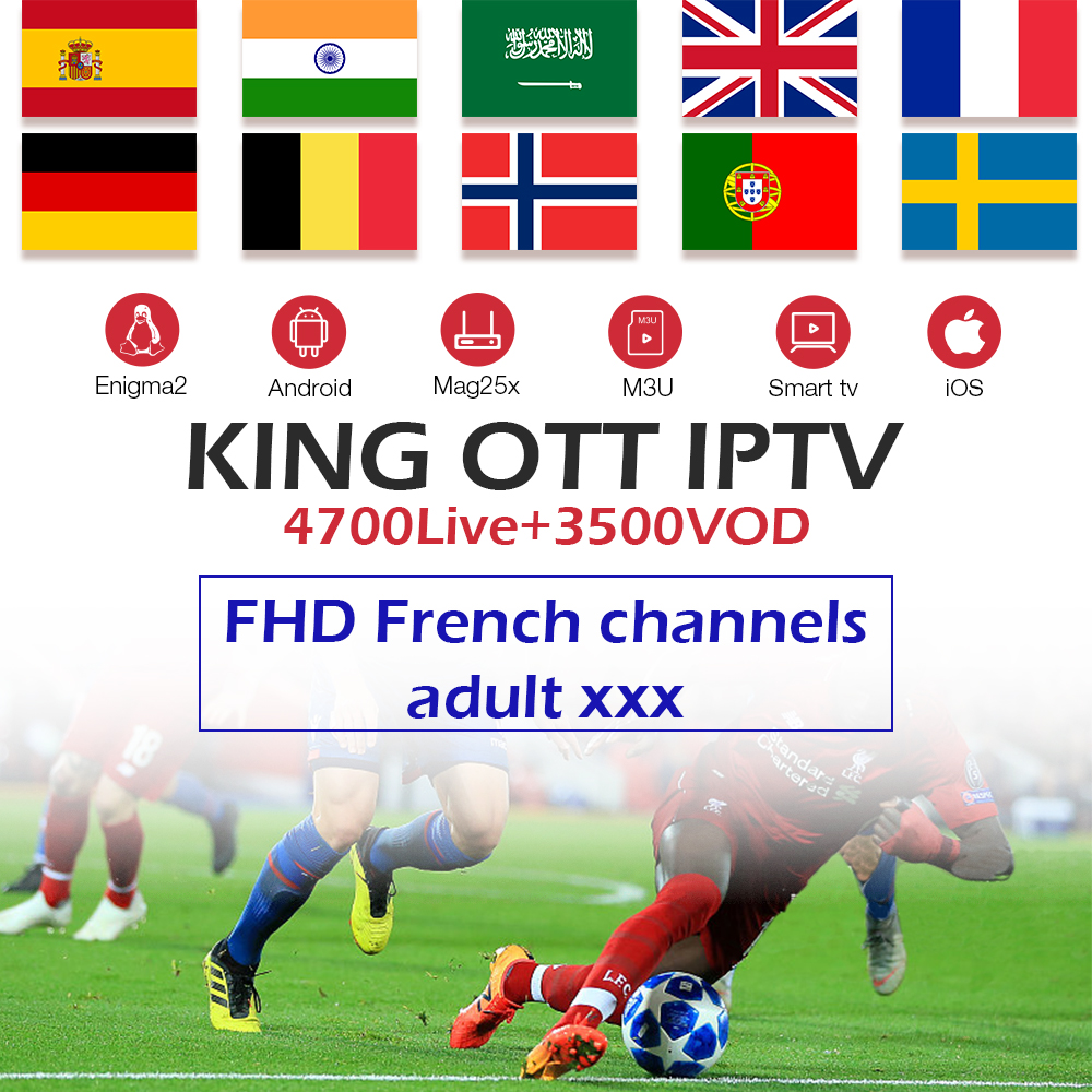 King OTT IPTV-Subscription France Spain Arabic UK Germany Nordic Sweden Portugal IPTV-M3U Android TV Box MAG Smart TV Enigma2(China)