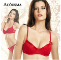 Luxury brand bow-knot women bra set underwear,sexy push up red brassiere and transparent intimates lingerie set