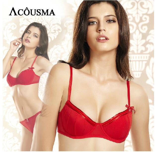 Marca de luxo mulheres arco-nó underwear bra set, sexy push up sutiã vermelho e transparente insinua conjunto de lingerie