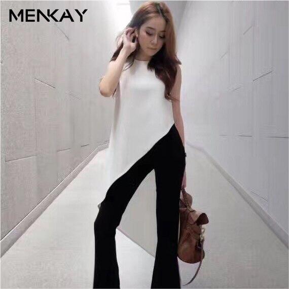 f2ddfb753c8e3  MENKAY  Irregular Trim Long Tail Flutter Tops Sleeveless Chiffon Blouse  Women Shirt Round Collar