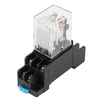 цена на DC24V/DC12V/AC110V/AC220V Coil 8 Pin DPDT Green LED Pilot Lamp Power Relay w 8 Screw Socket JQX-13FL