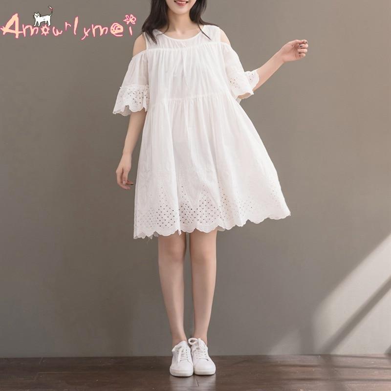 986ae7195cf9 Amourlymei נשים שמלת קיץ בסגנון יפני ילדה מורי שמלת פשתן הכותנה שרוול חלול  מתוך רקמת פרפר הכתף