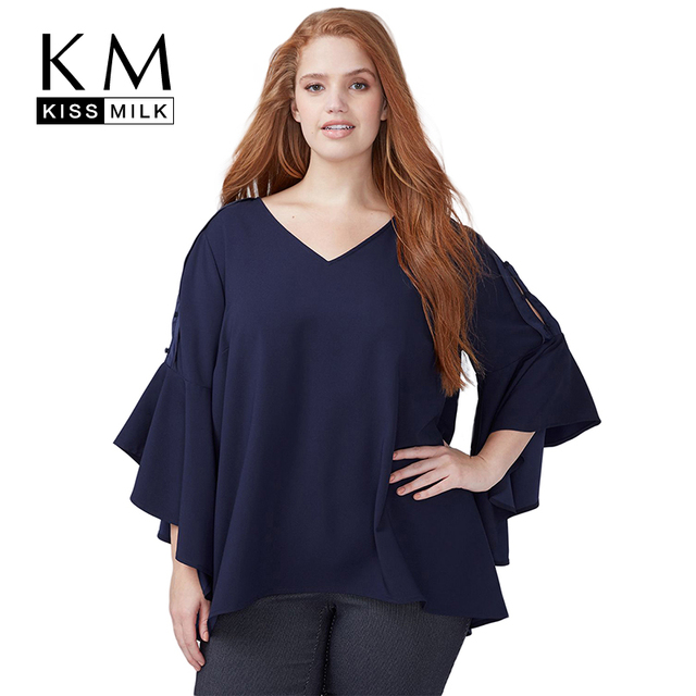 ef88814035fd Kiss Milk Plus Size Women Long Flare Sleeve Blouse Solid Dark Blue V Neck  Tops Shirt With Bowknot Loose Office Lady Blouse