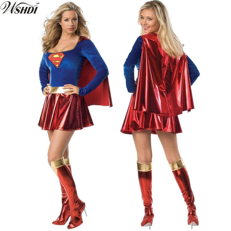 Sexy Adult Super Hero Super Girl Costume Cosplay Fantasy -1323
