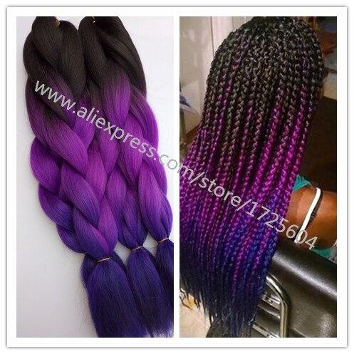 Hot Sale Crochet Hair 10PCSLOT Fashion 3T Purple Ombre Box Braiding Hair Extension Synthetic