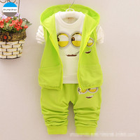 2016 Cartoon 1 4 Years Old Baby Boys Clothing Sets Kids Three Piece Coat Vest Trousers