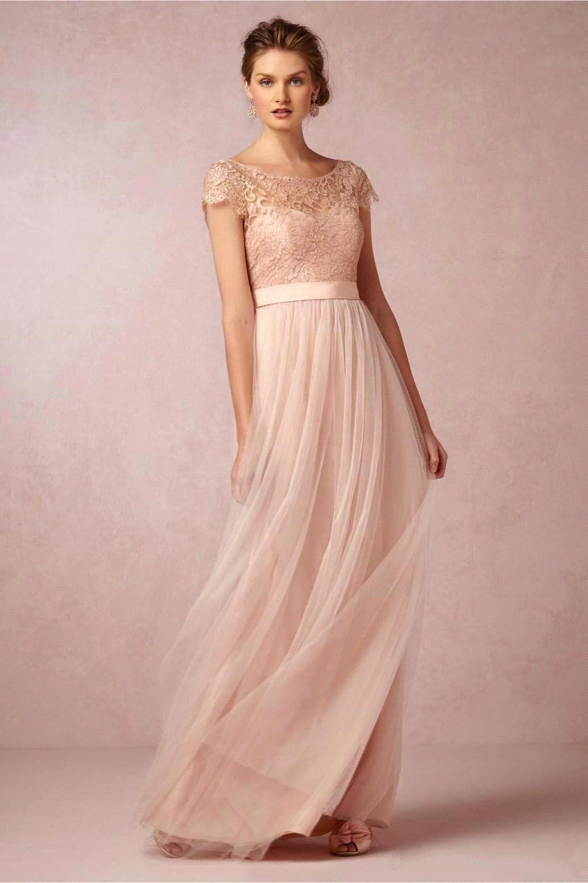 Cap sleeve long bridesmaid dress promotion shop for promotional cheap cap sleeves blush pink lace tulle open back long bridesmaid dresses 2017 backless summer wedding party dress vestido longo ombrellifo Image collections