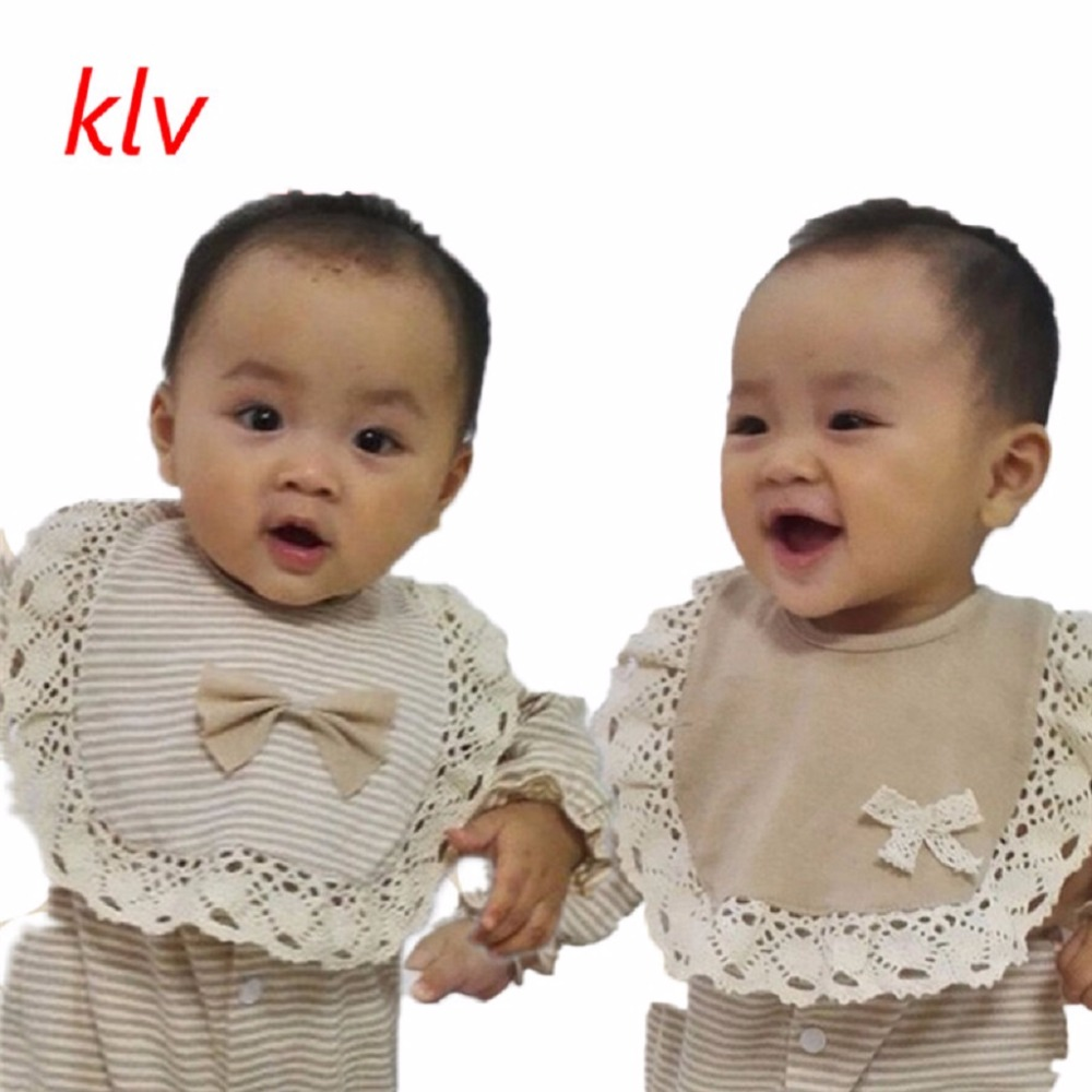 Newborn Toddler Infant Baby Girls Bowknot Stripe Lace Bibs Saliva Cartoon Towel ...