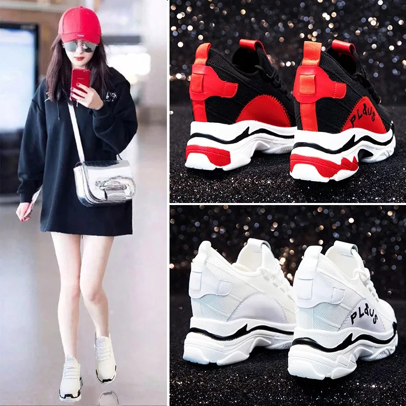 Dumoo 2018 New Sneakers Women Super High Heel 9.0cm Lady Casual White Shoes Mesh Leisure Platform Wedges Height Increasing Shoes