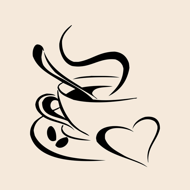 Kitchen Wall Art Decor Lowes Faucets Delta Sticker Coffee Cup With Heart Vinyl Decal Stickers Free Shipping 25x22cm