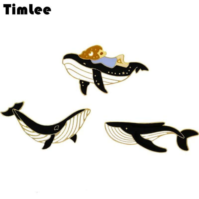 Timlee X193 Free shipping, New Cartoon Lovely Dripping Oil <font><b>Whale</b></font> Girl Metal Brooch Pins Fashion Accessories wholesale image