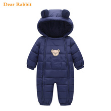 2018 Snowsuit Baby clothes Snow wear Cotton Padded One Piece Warm Outerwear Overalls Romper Kids Winter Jumpsuit Newborn Parkas(China)
