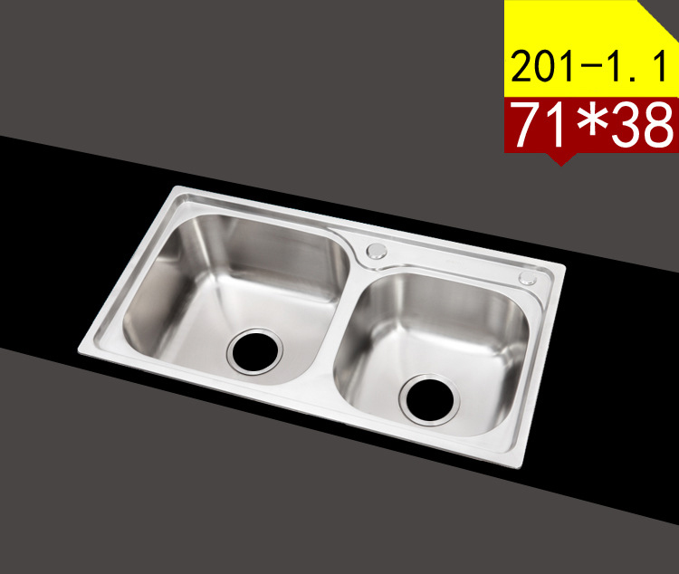 US $32.61 15% OFF|ITAS9907 201 Stainless steel kitchen sink double tank  stainless steel dish wash basin 71*38cm-in Kitchen Sinks from Home  Improvement ...