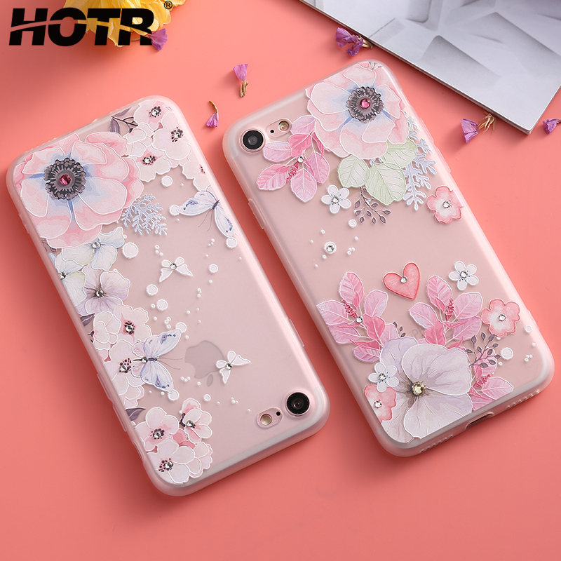 Hotr Bling Diamond Flower Case For Iphone 6 6s 7 8 Plus X