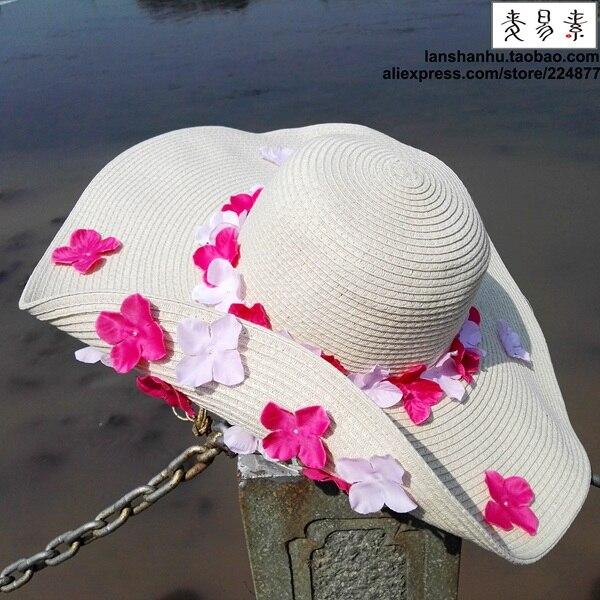 ea06d569e63d9 KIDS Large Brim handmade Floral Sun Straw Hats Parent-child Summer Big  Foldable Raffia Hats Women Wide Brimmed Caps