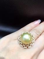14 15 мм натуральный большой золотой жемчуг кольцо 18 К желтого золота с бриллиантом изысканные женщины ювелирные изделия Бесплатная доставка