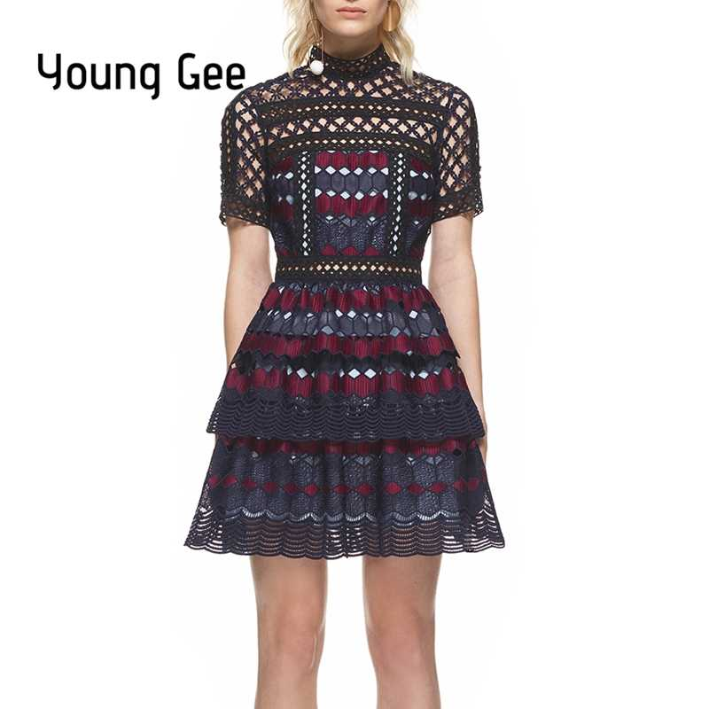 de9cd7630fab1 Young Gee Women Lace Runway Dress Fashion Women Elegant Geometric Hexagon  Hollow Out Party Short Sleeve Summer Dresses vestido
