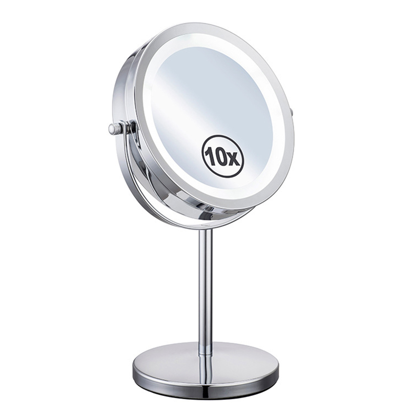 7 inch 10 times zoom round mirror double sided makeup mirror metal LED rotating decorative mirror