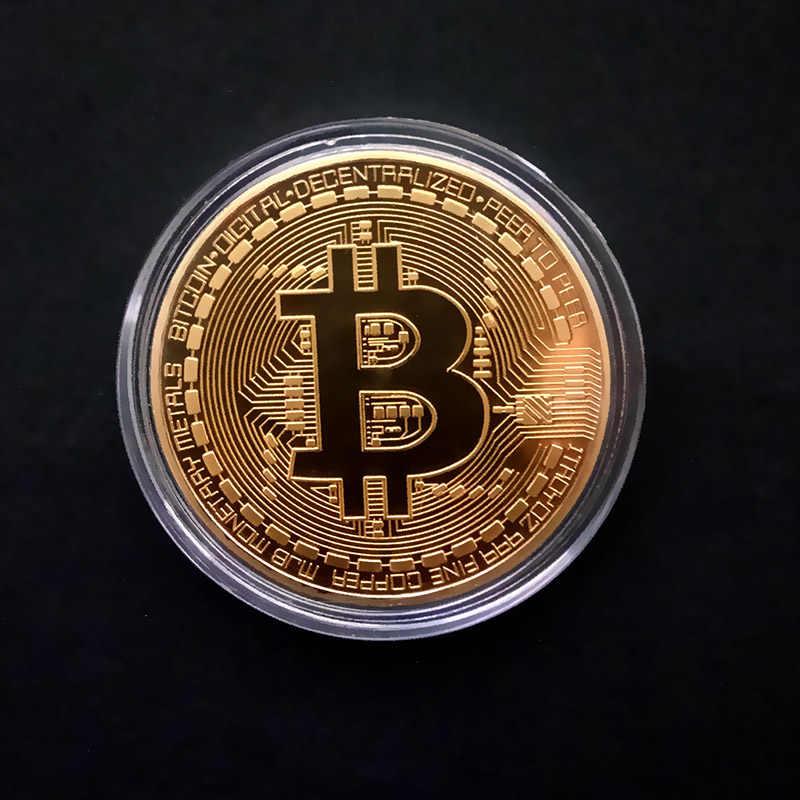Berlapis Emas Fisik Bitcoin Bit Koin BTC dengan Hadiah Case Logam Fisik Imitasi Antik BTC Koin Koleksi Seni