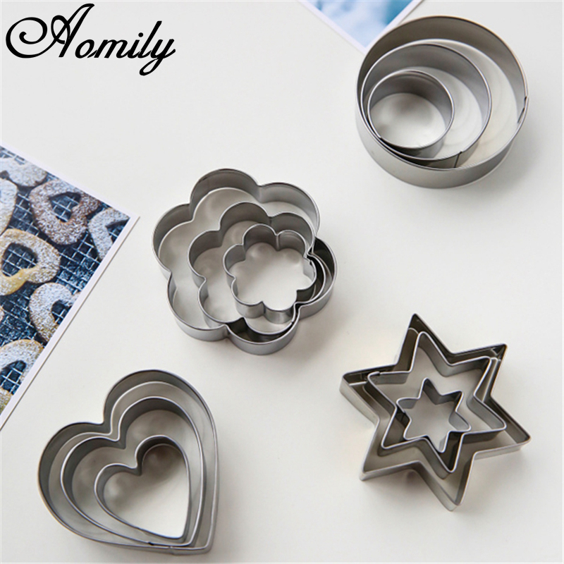 Aomily 12pcs/Set Cookie Cutter Stainless Steel Heart Fruit Molds Flower Round Star Biscuit Mould Fondant Cutting Pastry Cutters