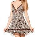 Envío Libre de Las Señoras Vestido Estampado de Leopardo Babydoll Chemise ropa de dormir ropa de Dormir Camisón de Seda Vestido de Las Mujeres Del Camisón