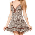 Free Shipping Ladies Sleepwear Sleep Dress Leopard Print Chemise Babydoll Nightie Silk Women Dress Nighty