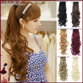 2015 NEW Fashion Women Long Wavy Ponytail Ribbon 9 Colors Synthetic Hairpiece Natural Hair Braiding Anime Cosplay perucas