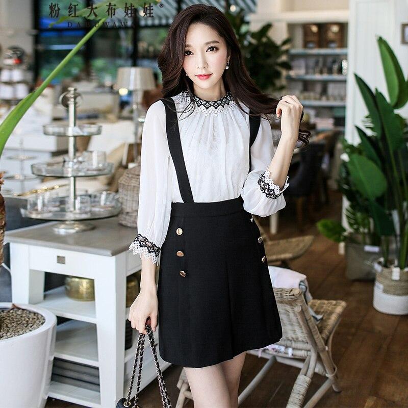 original braces skirt female 2017 new spring autumn fashion ladies high waist temperament black OL skirts women wholesale