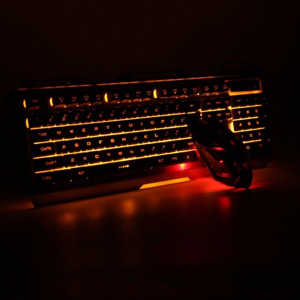 GAMEDIAS V1 jeu lumineux filaire USB souris et clavier costume avec arc-en-ciel rétro-éclairage LED lumières mécanique clavier souris de jeu
