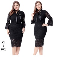 Europe And The United States Plus Size 4XL 5XL 6XL Lace Dress 2017 Sexy Flare Sleeve