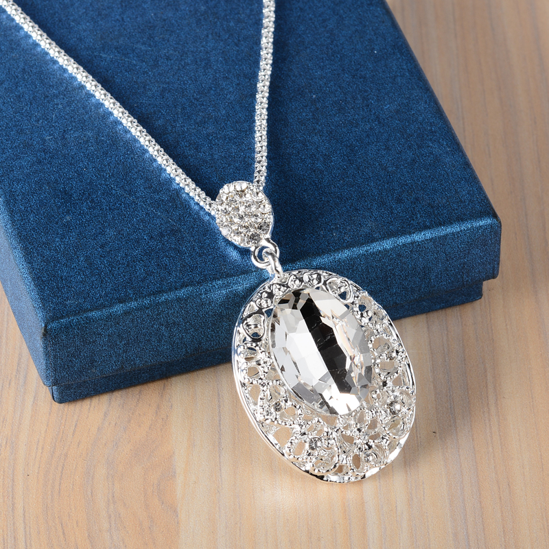 Hot Sale Long Rose Gold /Silver Color Pendant Necklace Women Jewelry Large Crystal Stone Chain Ladies Neckless Gifts for Girls(China)