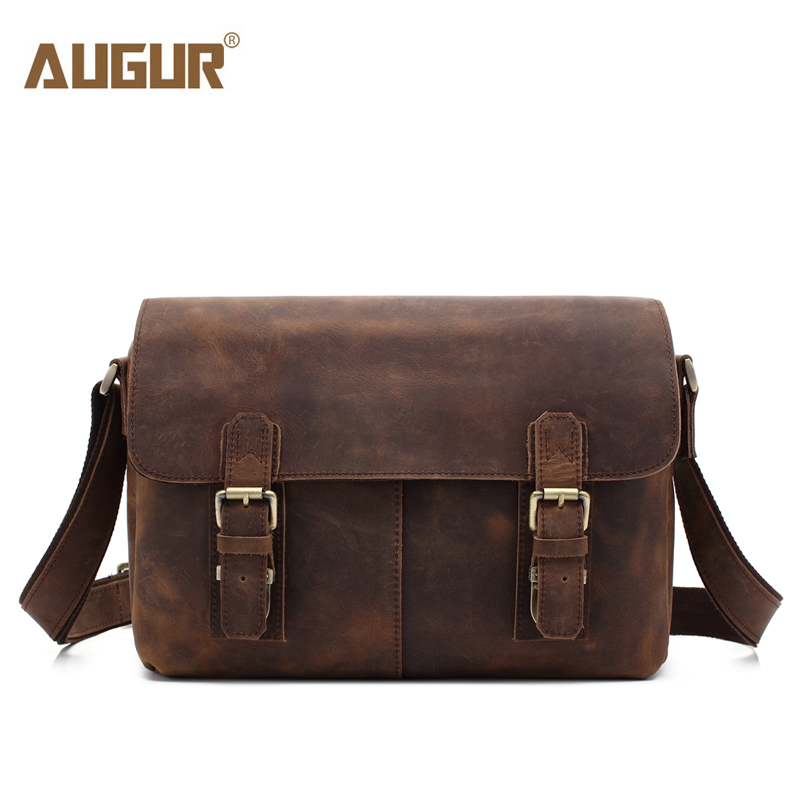 AUGUR Brand Crazy Horse Men Handbags Retro Genuine Leather High Quality Crossbody Bag Men Buiniess Travel Shoulder Bags augur brand men s messanger bags casual travel bag male army military crossbody tote bag high quality canvas shoulder bags