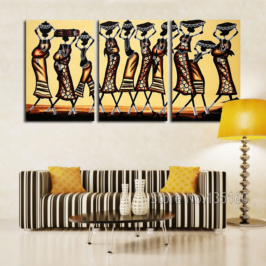 Abstract African Women Wall Art Painting On Canvas Home Decor Vintage Figure Canvas Print Art Panel For Bedroom Drawing No Frame