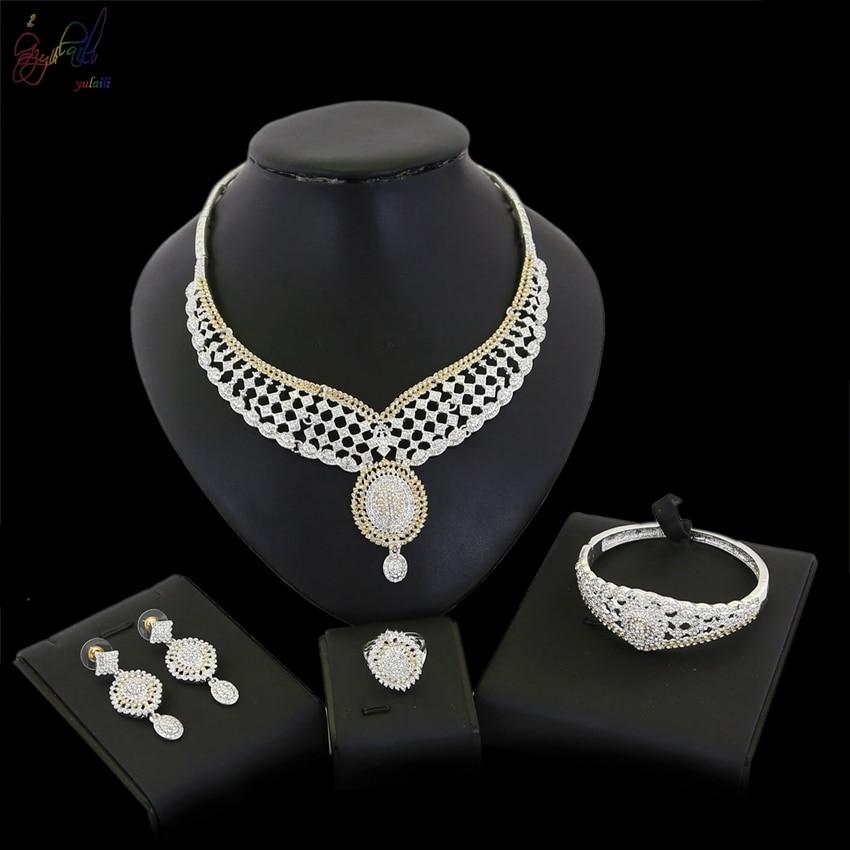Здесь можно купить  YULAILI Free Shipping Fashion Bride Accessories Gold Color Zircon Necklace Bangle Earrings Ring Jewelry Sets for Party Costume  Ювелирные изделия и часы