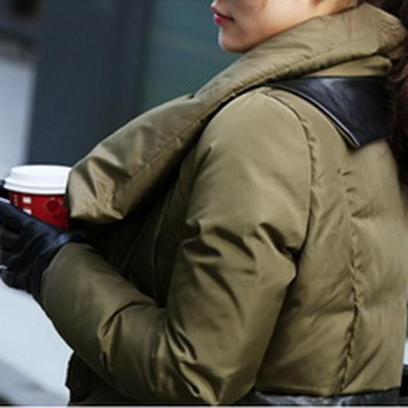 Rembourré Cuir D'hiver De Couleur Taille La Section En Black Pu Longue Manteau 2xl Mode army Chaud Nouveau Épaisse Green Coutures C552 Femmes Solide Coton Plus Veste Efq88t0w