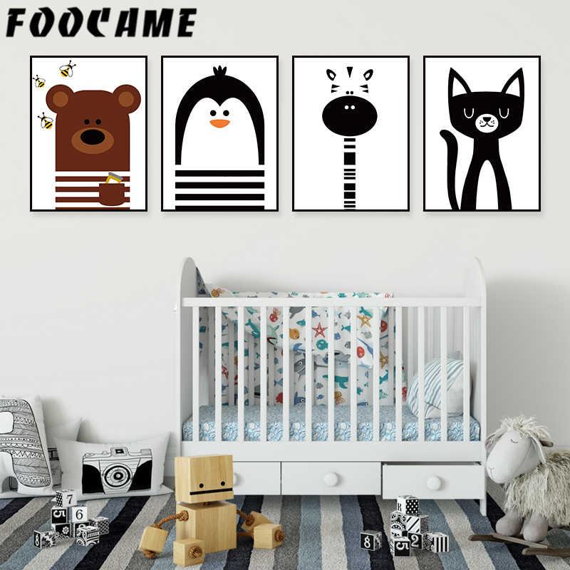 FOOCAME dibujos animados abeja jirafa oso pingüino póster en lienzo de estilo nórdico pintura arte impresión habitación de bebé cuadros de decorativos para pared niños guardería