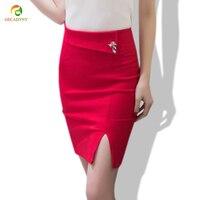 Rhinestone Cute Fox Pin Embellished Slim Pencil Skirt Women High Quality Plus Size Slit Bodycon Knee Skirt Free Shipping S-5XL