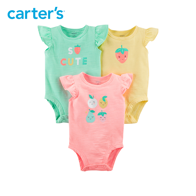 Carter's 3-Pack baby children kids clothing Girl Summer Flutter-Sleeve Fruity Original Bodysuits 127H191 кремы novexpert смягчающий крем для лица 30 мл